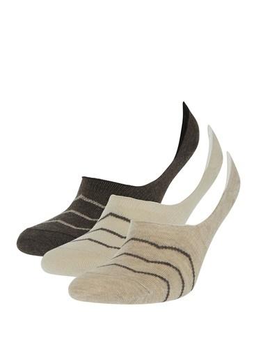 DeFacto Desenli 3'lü Babet Çorabı Camel
